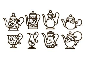 Swirly Decorative Teapot Vectors
