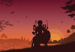 Durga Silhouette Free Vector