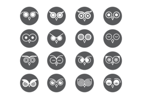 Coruja Eyes Icons Vector