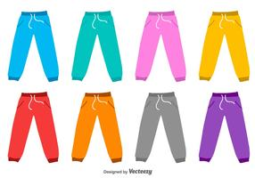Sweat Pants Flat Vector Silhouettes
