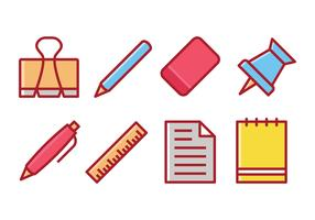 Stationery Items Vector Set