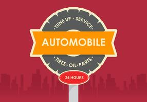 Retro Automobile Vector Sign