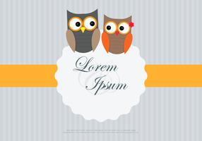 Owl Couple Loving Card Template Vector