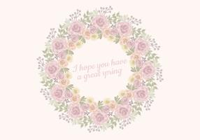 Vector Watercolor Roses Wreath