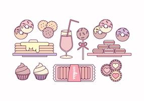 Vector Outline Illustrations of Sweets