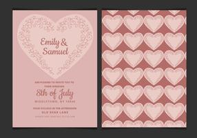Vector Wedding Invitation with Delicate Heart