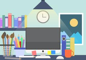 Creative Work Space Desk Vector Background