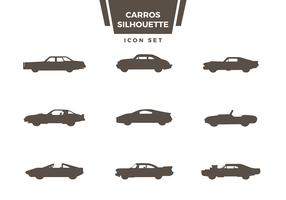 Carros Silhouette Icon Set Vector