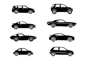 Silhouette Carros Icons Vector