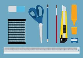 Office Supplies Pen Holder Set Vector