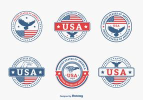 Colored USA Eagle Seal Vector Set