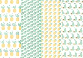 Vector Seamless Patterns of Hand Drawn Fruits
