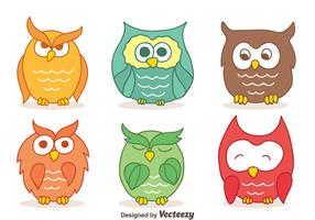 Colors Hand Drawn Owl Collection Vectors