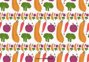 Flat Vegetables Pattern Vector