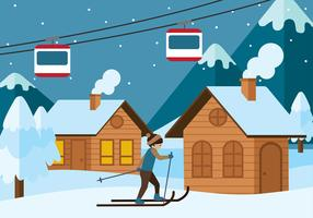 Chalet in Winter Season Vector