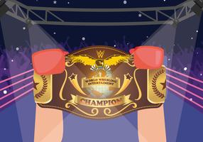 Boxer Winner Holding World Championship Belt Vector