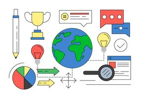 Illustration of Global Entrepeneurship Elements in Vector