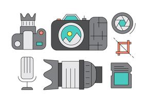 Colorful Photography Icons and Elements in Vector