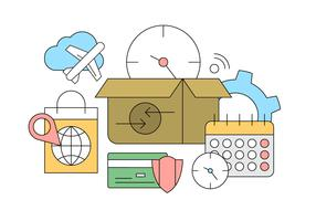 Online Shopping and Delivery Icons in Vector for Free