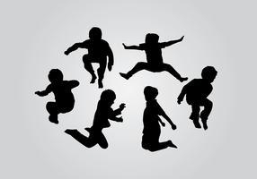 Jump Kids Silhouette Vectors