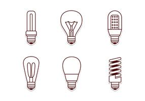 Electricity Lamp Icon Set