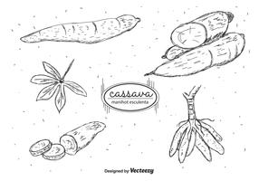 Hand Drawn Cassava Vector Pack