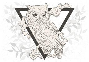 Hand Drawn Of Black And White Owl