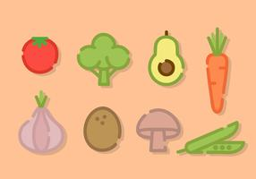 Line Art Vegetables Vector