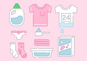 Line Art Laundry Elements Vector
