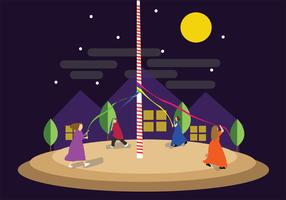 Playing Maypole at Night