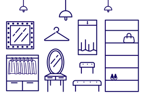 Outline Icon Dressing Room Vector