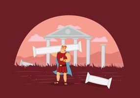 Free Hercules With Ruins of Temple Illustration