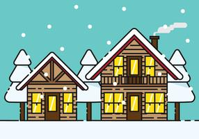 Snowy Chalet Vector Illustration