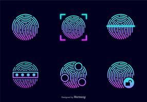 Glühende Diebstahl Fingerabdruck-Vektor-Icons