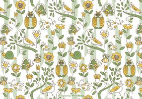 Spring Doodle Vector Background