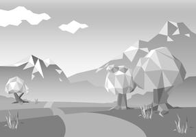 Free Monochromatic Low Poly Landscape Vector
