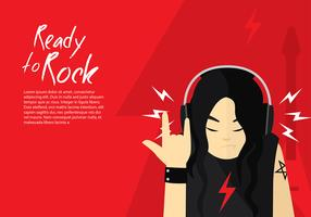 Head Phone Listening Rock Free Vector