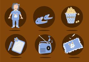 Slumber Party Icons Vector