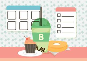 Free Bubble Tea Breakfast Vector