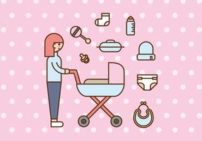 Pink Babysitter or Mom and Baby Vectors
