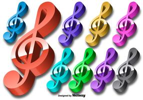 Vector 3D Colorful Violin Key Icon Set