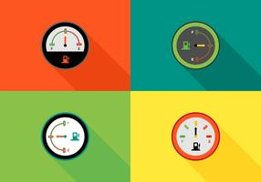 Free Colorful Fuel Gauges Vector