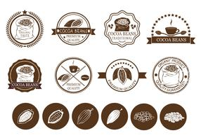 Cocoa Beans and Coffee Label Vectors