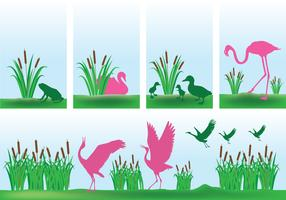 Cattails with Pink Birds Background Vectors