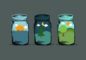 World in Mason Jar Vectors
