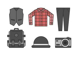 Free Sleek Hipster Men Outfits Vectors