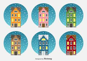 Christmas Netherlands Houses Vector Icons