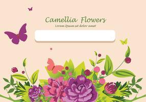 Camellia flowers invitation card design illustration
