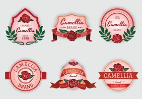Camellia flowers pink label vector