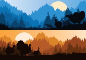 Wild Turkey Silhouette Illustration